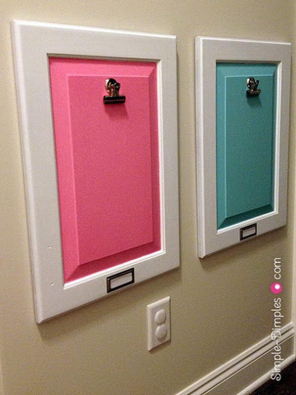 7 Turn Old Cabinet Door into Decorative Bulletin Board