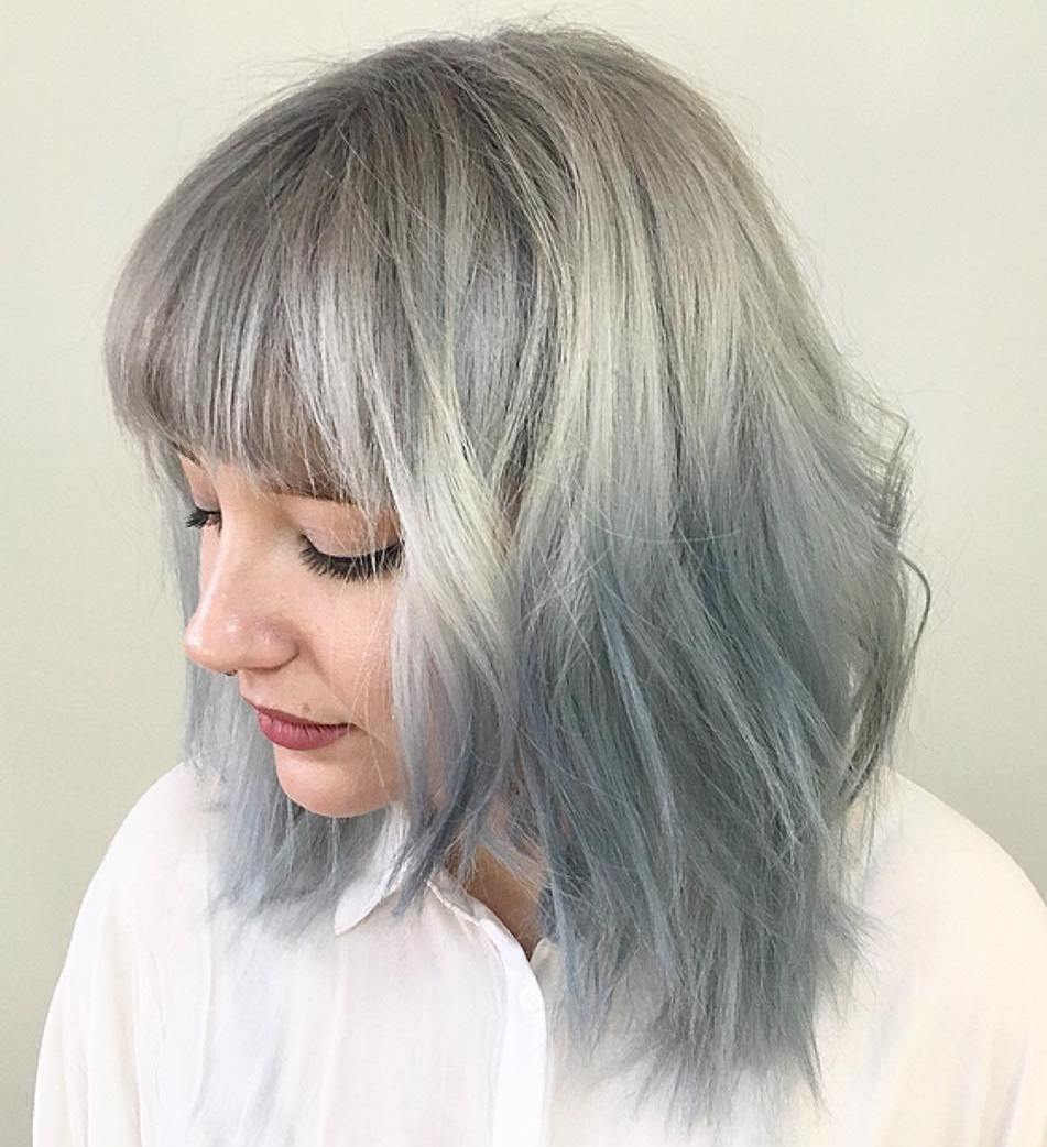 7 gray to pastel blue ombre hair