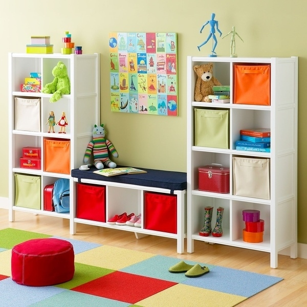 8 Bench Seat Between Two Bookshelves for Seating and Storage