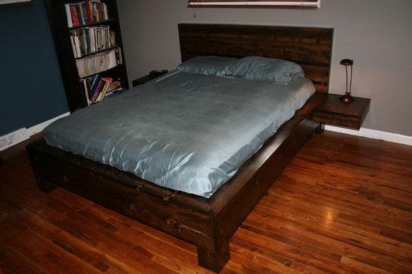 8 DIY Platform Bed with Floating Nightstands