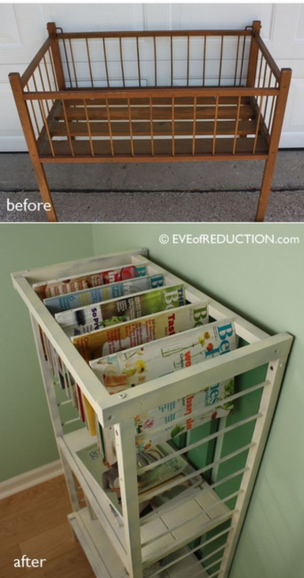 8 Turn a Small Crib into Stylish Magazine Rack
