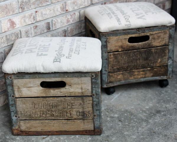 9 DIY Milk Crate Ottoman