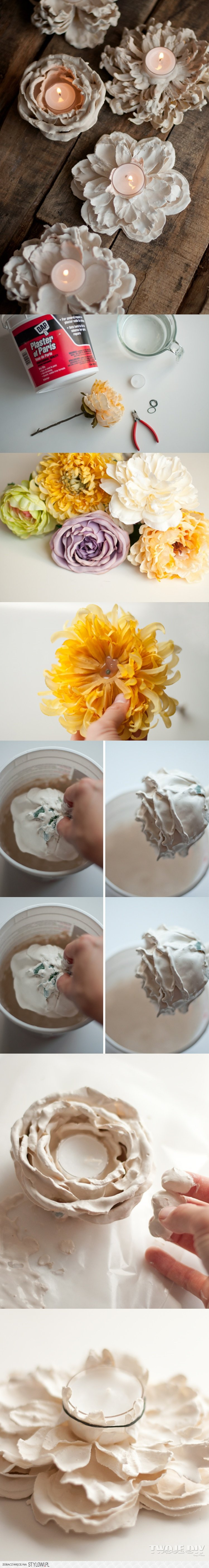 9 DIY Romantic Plaster Dipped Flower Votives