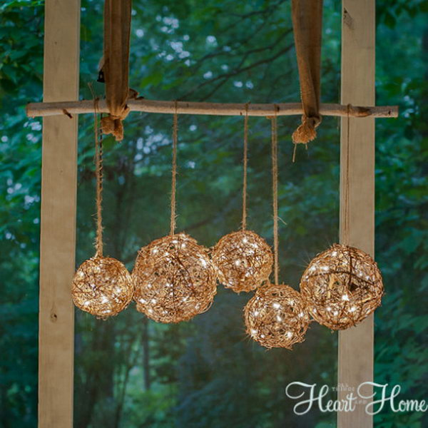 9 Easy DIY Outdoor Chandelier Made from Grapevine Balls