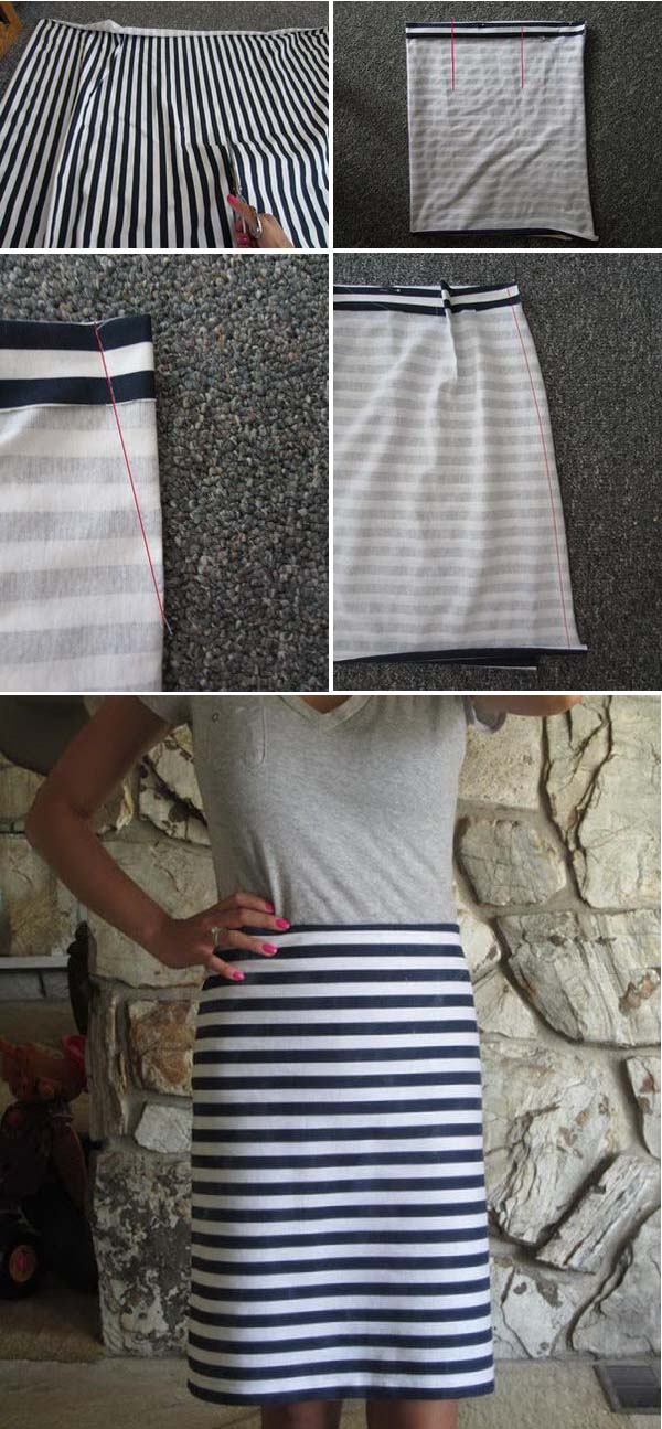 9 Navy Blue and White Stripped Pencil Skirt