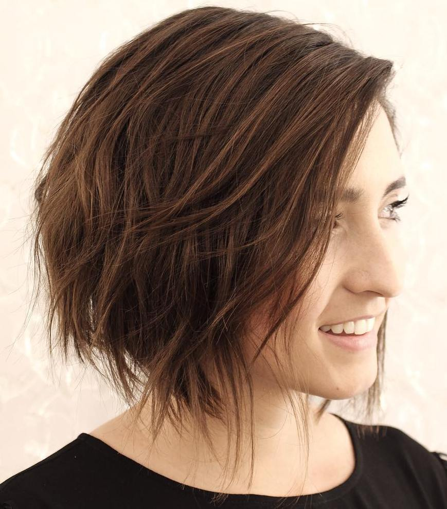 9 wispy brown bob