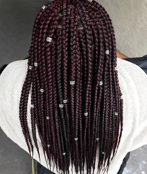 1 burgundy box braids with beads