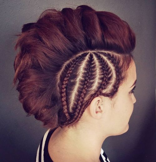 1 mohawk with side braids