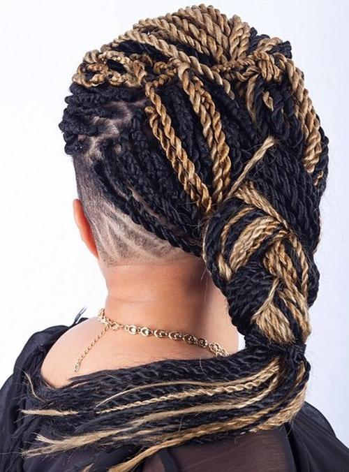 1 multicolored twist hairstyle