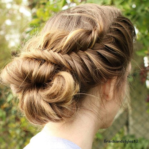 10 loose messy fishtail and bun updo