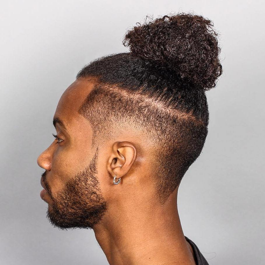10 mens natural top knot with a fade