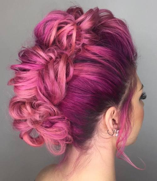 10 pastel pink mohawk updo
