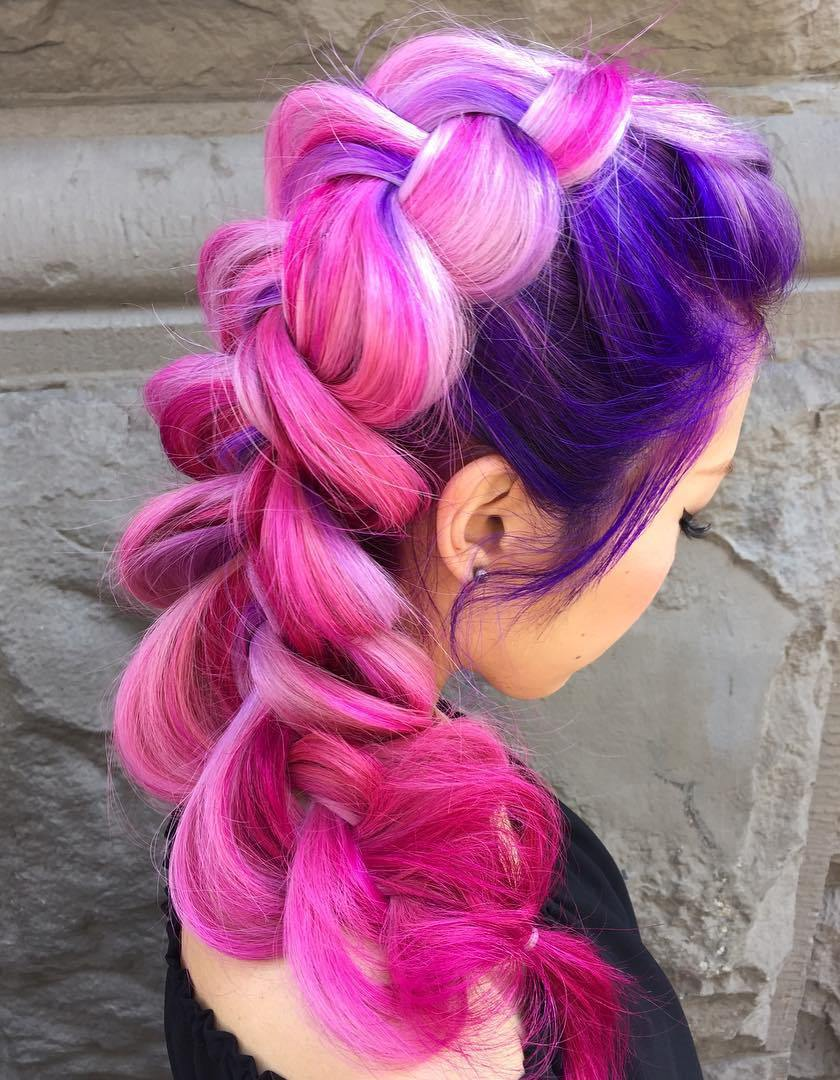 10 pink and purple hair with blonde highlights