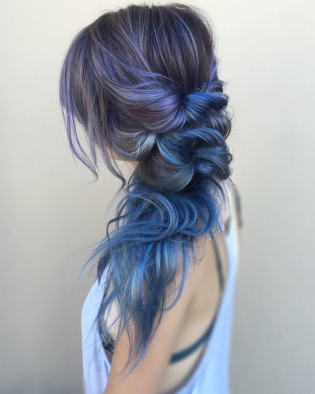 10 purple and blue balayage for brown hair