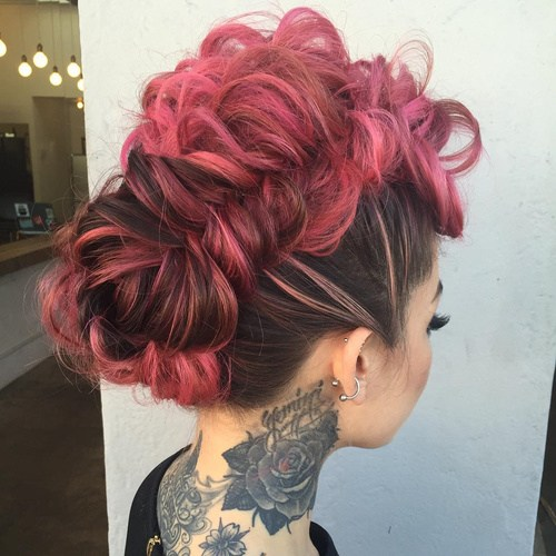 11 pink funky mohawk updo with messy fishtail braid