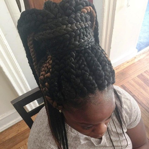 12 big box braids in a chunky high ponytail