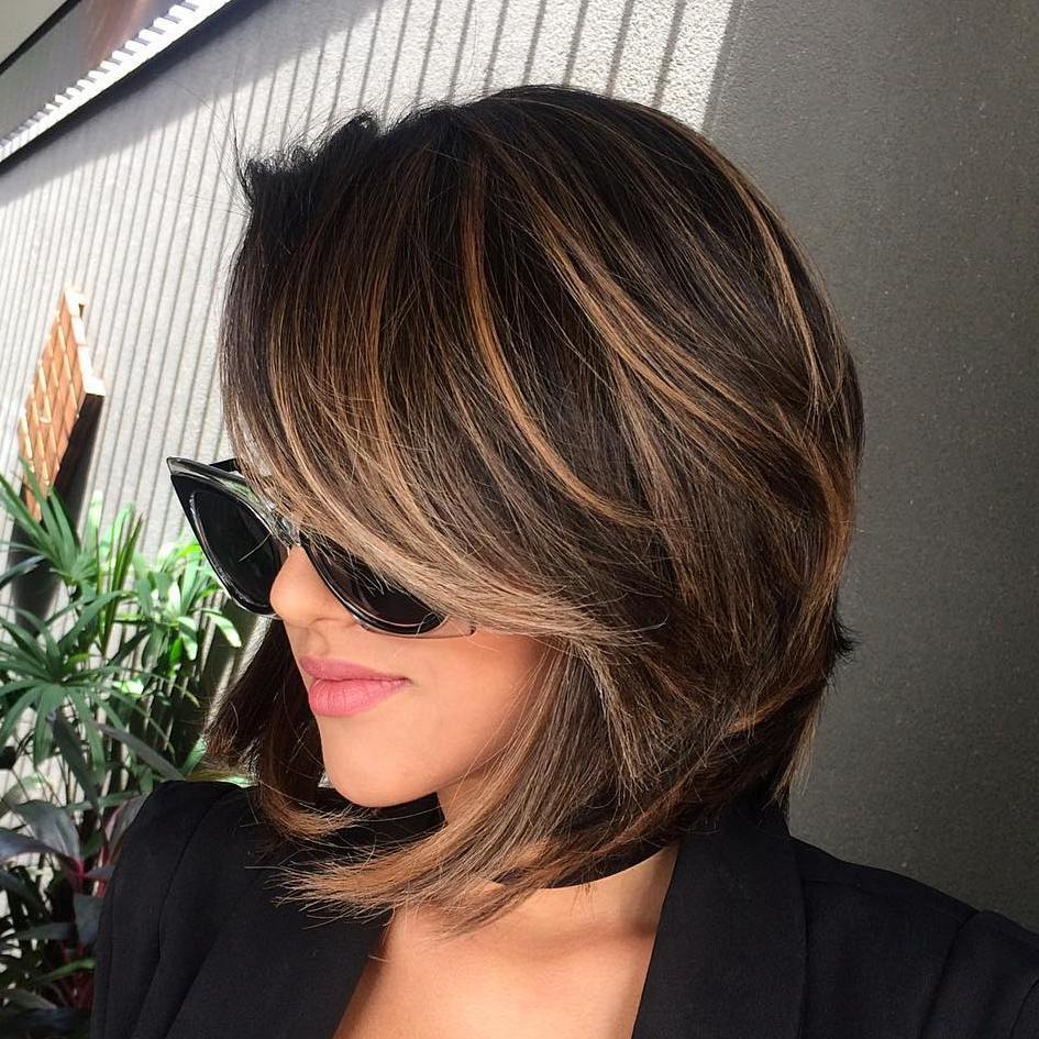 12 brown balayage bob with side bangs