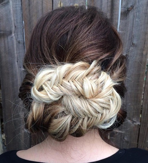 12 messy fishtail updo for long thick hair