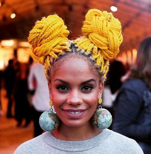 12 yellow long box braids