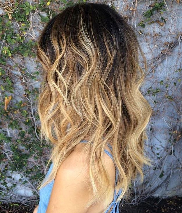 13 blonde wavy hair with black root fade