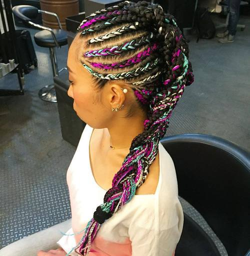 13 mohawk braid with colorful extensions
