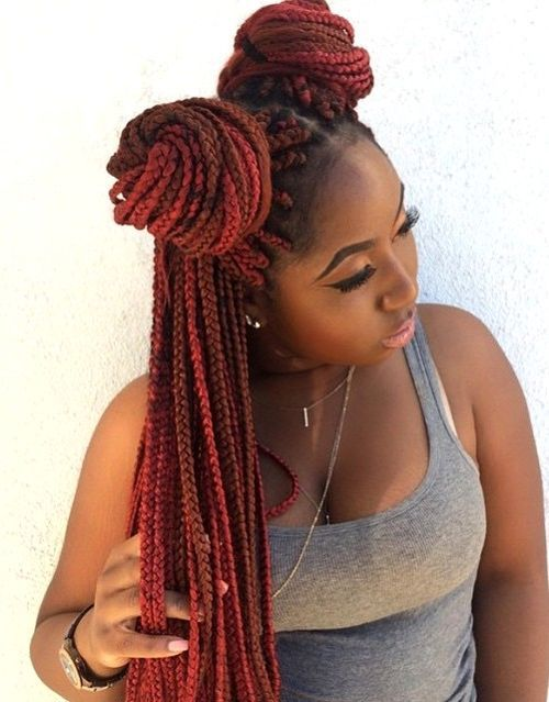 13 red and brown long box braids