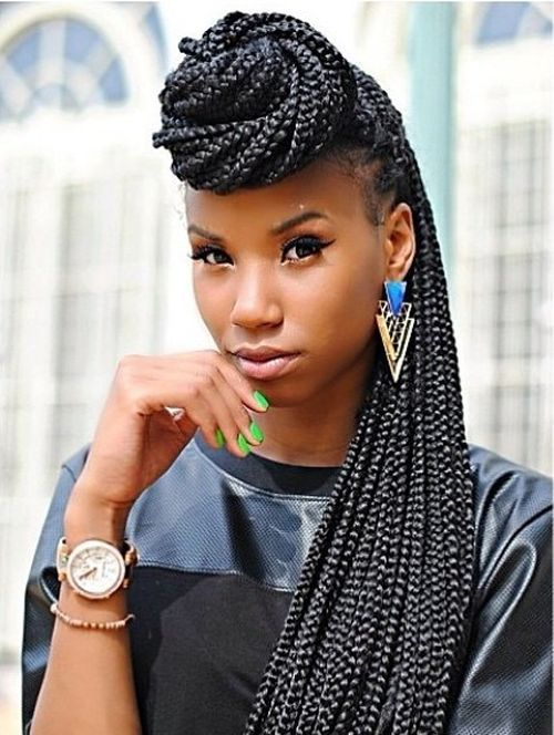14 half up bun for long box braids