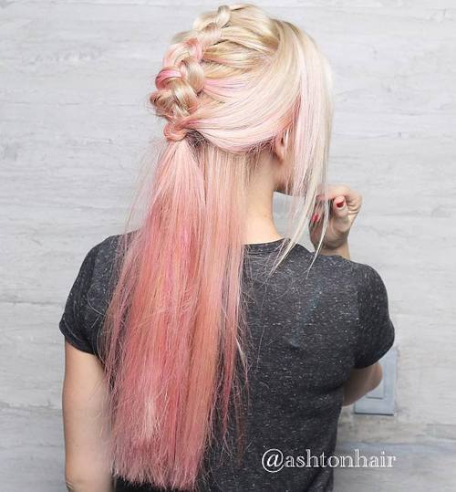 14 half up mohawk braid for pastel pink ombre