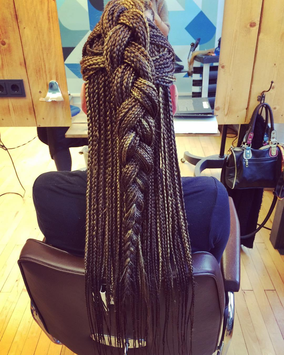 14 half updo for long box braids