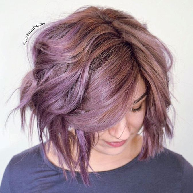 14 pastel purple choppy bob
