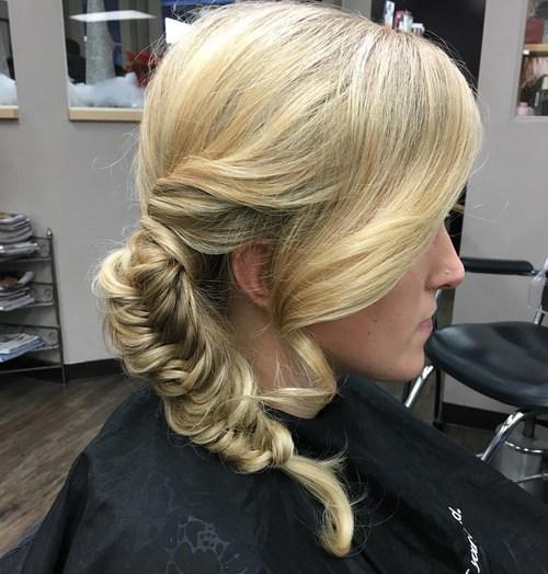 14 side fishtail for blonde hair