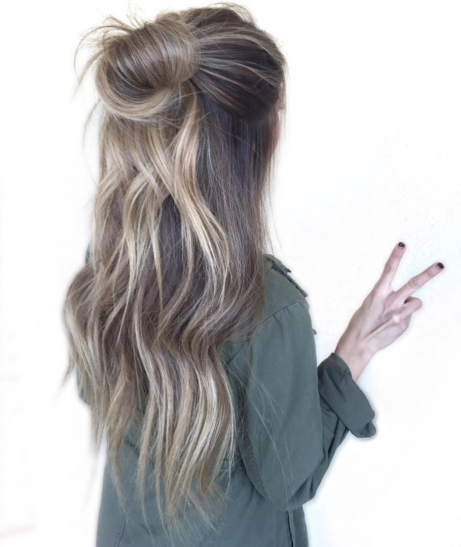 15 bun half updo for long hair