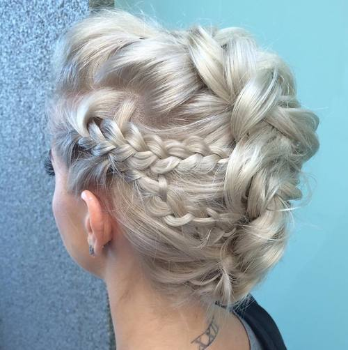 15 platinum blonde braided mohawk updo