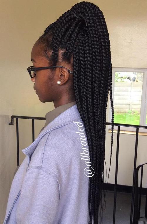 16 high half up ponytail for big box braids