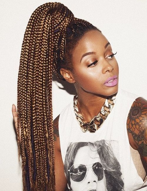 16 long high ponytail for box braids
