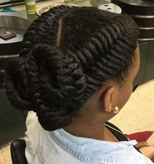 16 two fishtails twisted updo for black women