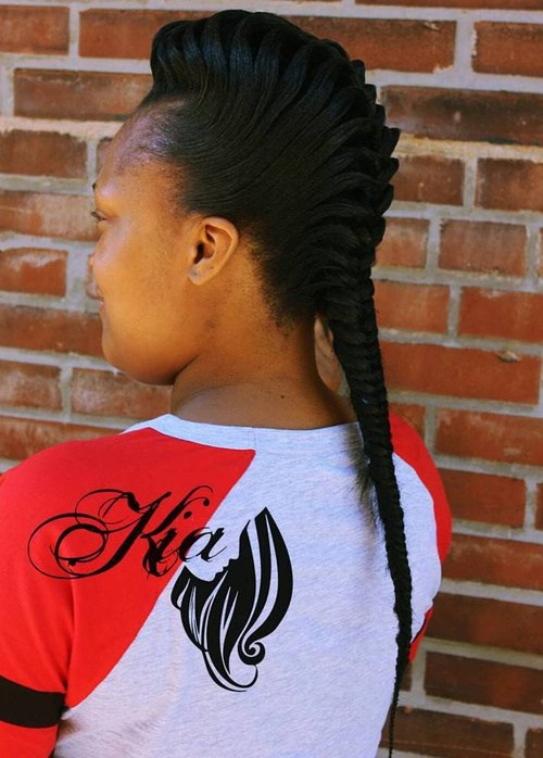 17 black braided Mohawk with fishtail braid