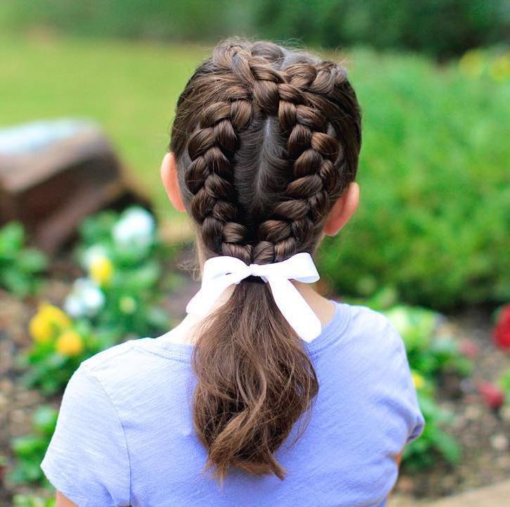 17 braids and pony for little girls