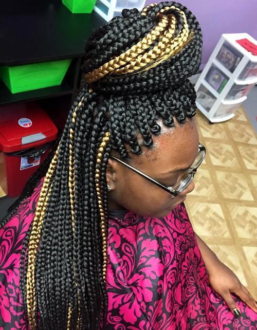 17 bun half updo for highlighted box braids