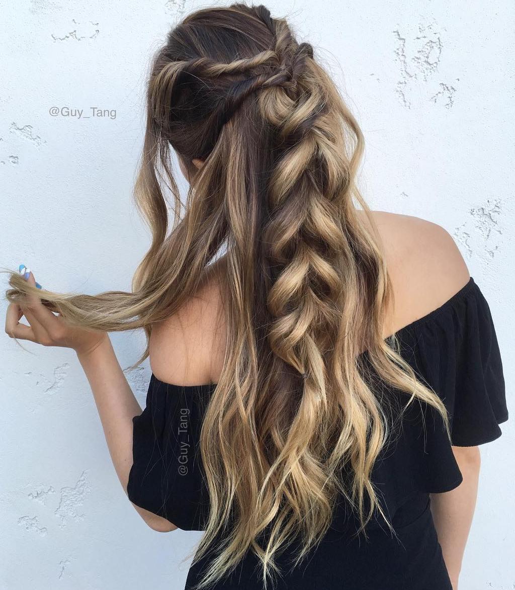 17 twists into chunky braid long half updo