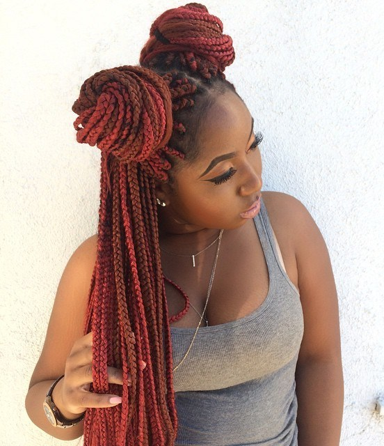 17 two pigtail bun for box braids
