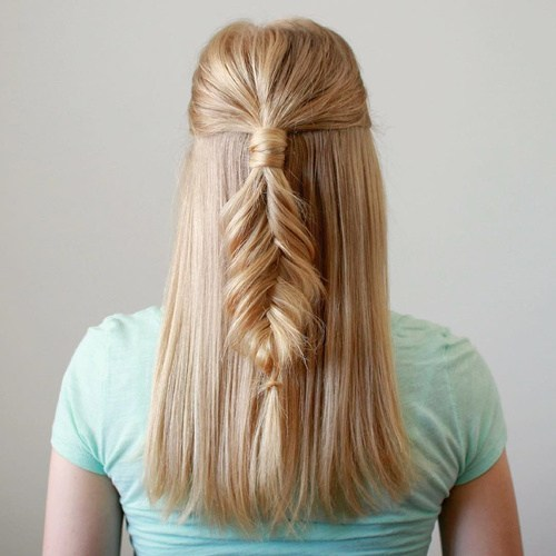 18 blonde half up fishtail for straight hair
