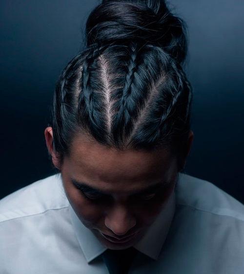 18 flat braids and bun for men