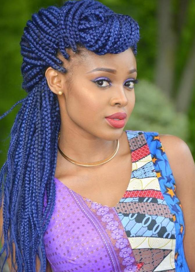 19 blue box braids