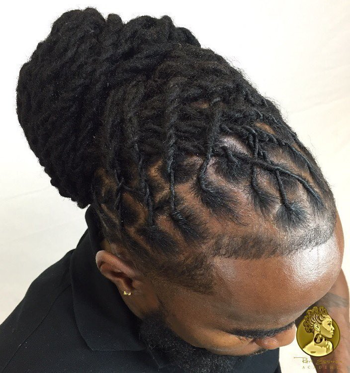 19 men bun from Senegalese twists