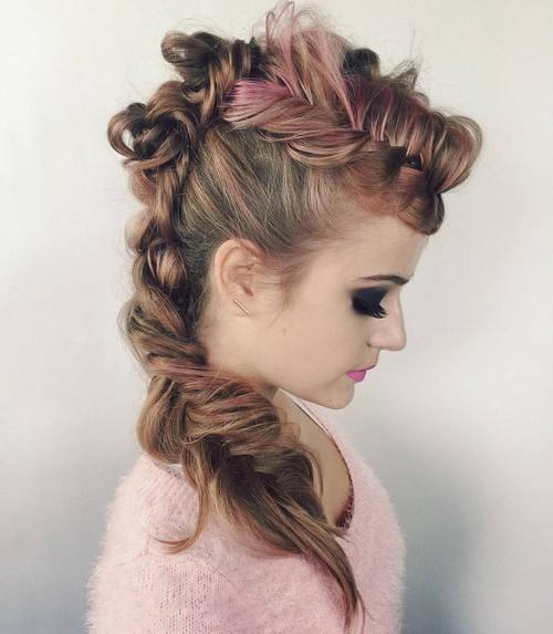 2 funky fishtail braid mohawk