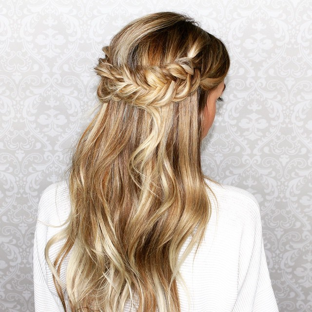 2 half updo with fishtail crown