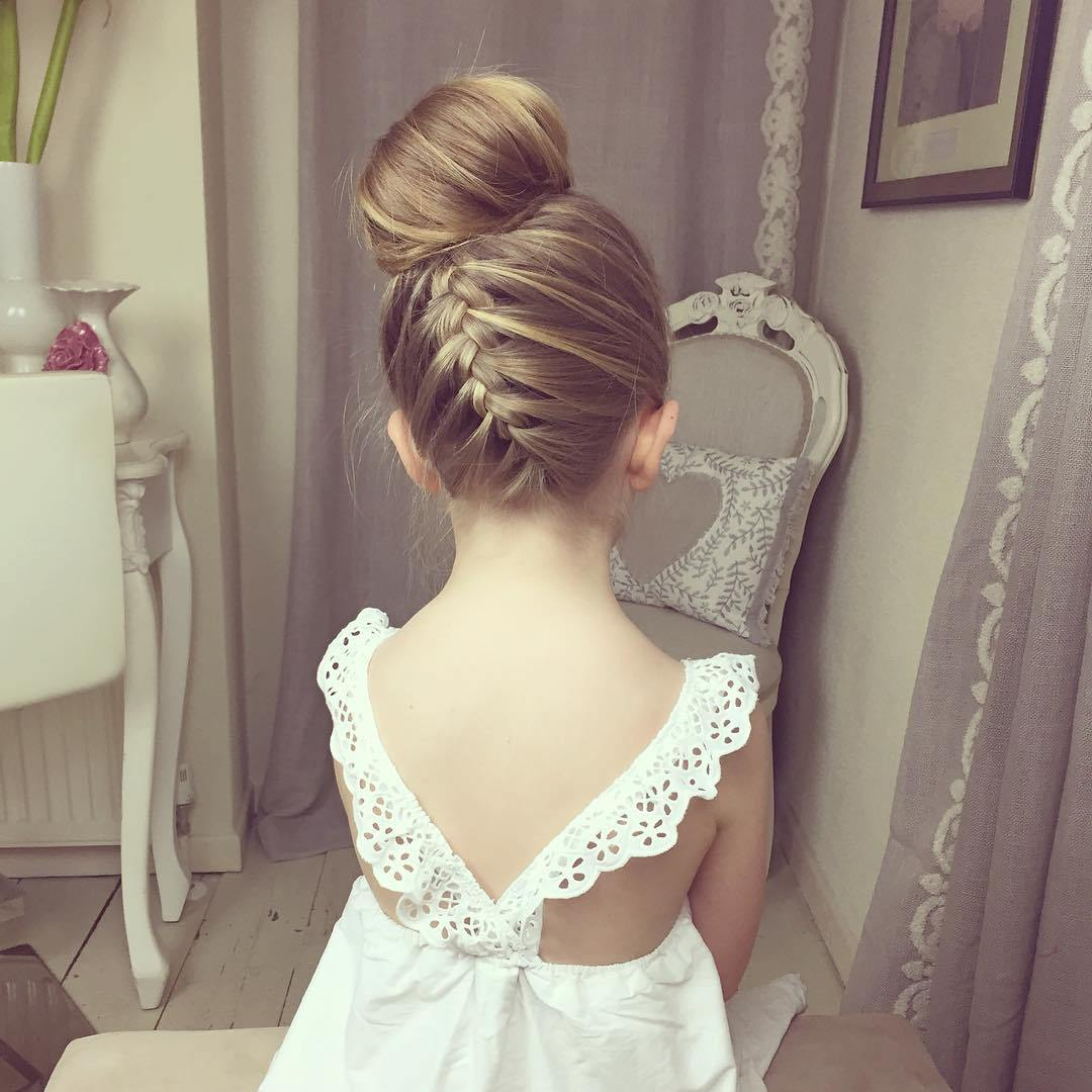 20 ballerina bun with a braid for girls