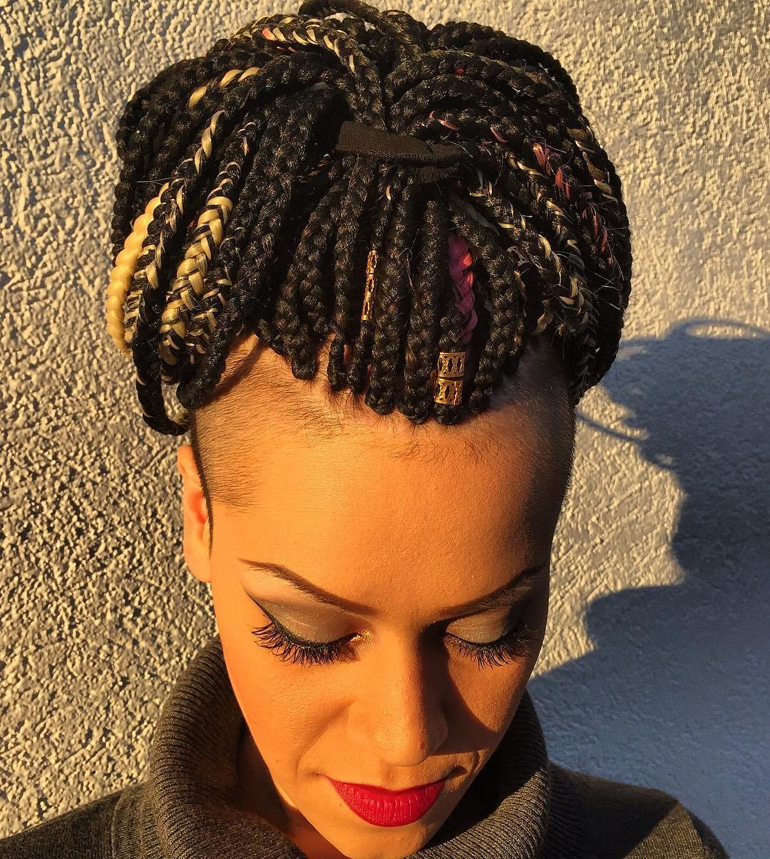 20 box braids with side undershaves