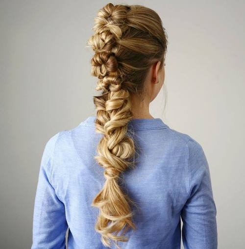 21 knotted braid mohawk for long hair